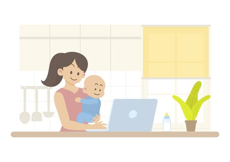Mother holding happy baby and working on laptop computer in kitchen interior with milk bottle, cupboard, utensil, roller blind and window in flat cartoon style