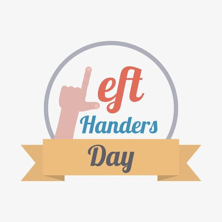 Left hand with index finger and thumb as letter L for left handers day greeting card with ribbon and frame in flat cartoon style