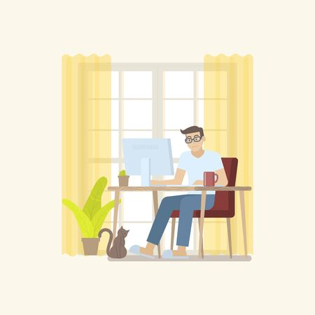 Young man in casual clothing working at home in daytime with desktop computer on table in a cozy room interior with door, curtain, plant, coffee mug and cat in flat cartoon style