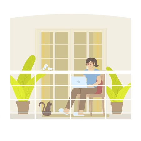 Young woman in casual clothing working at home with laptop computer on balcony with railing, door, curtain, pillow, plant, cat and birds in flat cartoon style