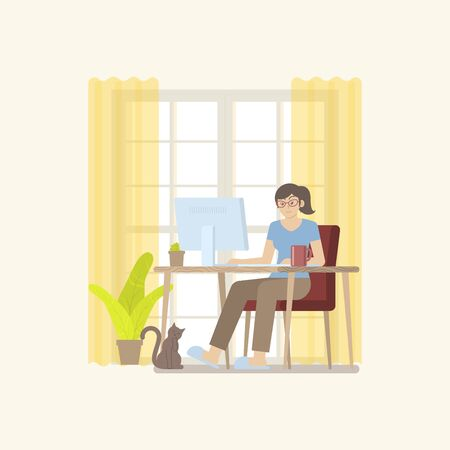 Young woman in casual clothing working at home in daytime with desktop computer on table in a cozy room interior with door, curtain, plant, coffee mug and cat in flat cartoon style
