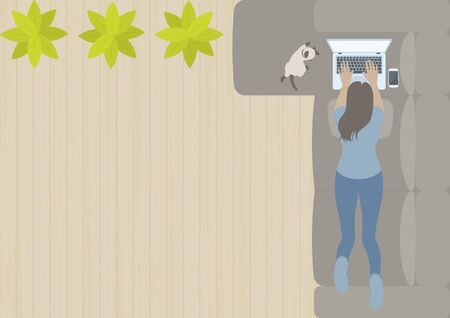 Woman working on laptop computer and lying prone on L shaped sofa in living room with siamese cat, smart phone, plant and wood floor from top view in flat design