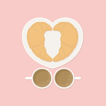 Breakfast for couple concept, two croissants on heart shaped dish with two cups of coffee on pink background from top view in flat color style