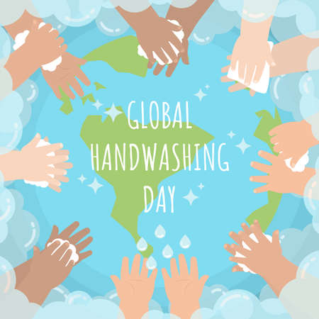 Hands of kids from several races washing and wiping around the globe surrounding by soap bubble in flat cartoon style for global handwashing day Illustration