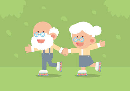 Elderly couple smiling, holding hands and skating outdoor with trees and falling leaves in cute flat cartoon style Illustration