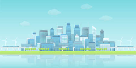 Panoramic view of buildings group in waterfront smart city with sky trains, wind turbines, trees in clear blue sky