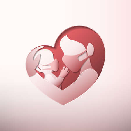 Side view of mother holding a baby with medical face masks and rubber gloves, inside heart shaped frame in paper art style 向量圖像