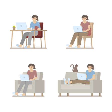 Set of woman in casual clothes working at home on laptop computer sitting at desk, on chair, armchair and lying on sofa in flat cartoon style