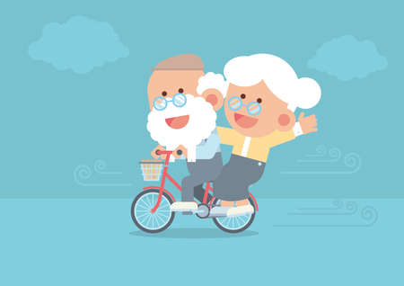 Elderly couple smiling, senior man riding vintage bicycle outdoor with senior woman sitting behind, blowing wind and clouds in cute flat cartoon style