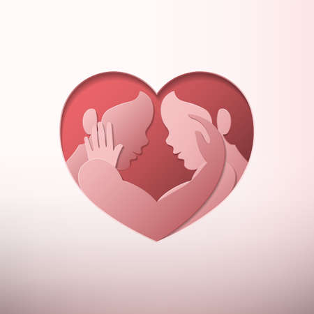 Side view of gay couple caressing each other inside heart shaped frame in paper art silhouette style Ilustração