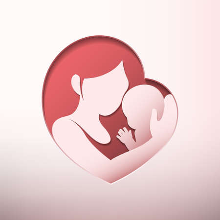 Mother holding little baby with her arm inside heart shaped silhouette in paper cut style
