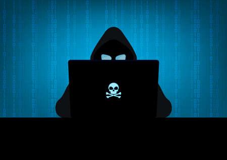 Silhouette of hacker wearing hood using laptop computer with glow in the dark blue skull and crossbones logo in dark room on blue binary code number background 向量圖像