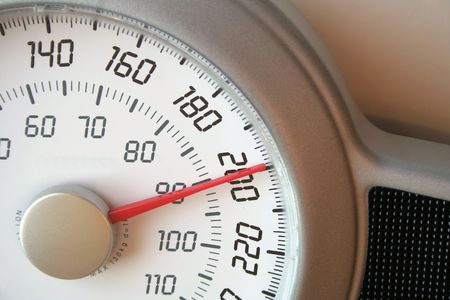 A closeup of a weight scale. Banque d'images