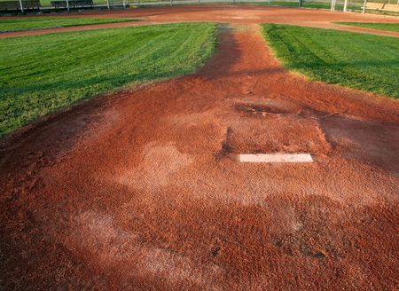 A view from directly behind a pitchers mound. photo