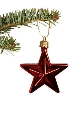 An isolated red christmas star ornament hanging from a spruce branch. Stock Photo
