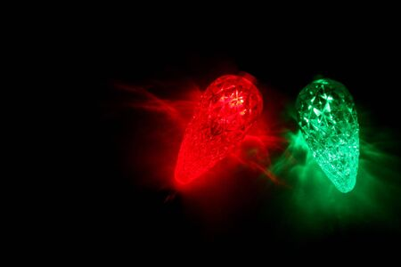 Red and green LED Christmas lights. Stock Photo
