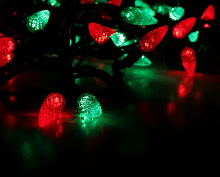 Red and green led christmas lights stock photo picture and