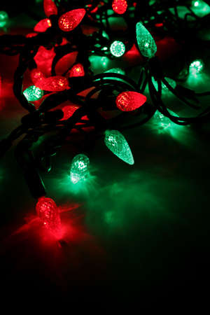 Red and green LED Christmas lights.  Reklamní fotografie