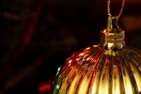 A closeup of metallic gold bauble Christmas ornament. Stock Photo - 659046