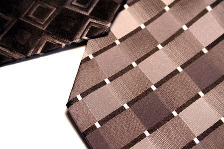 A closeup of two ties isolated on white. photo