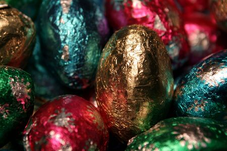foil: A pile of chocolate foil Easter eggs. Stock Photo