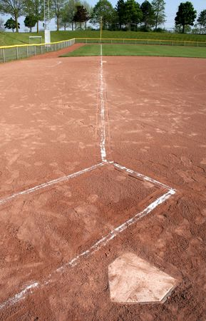 A wide-angle shot looking down the left field line from the plate and batters box. photo