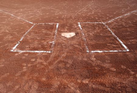 dirt: A wide angle shot of empty batters boxes and home plate. Stock Photo