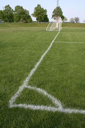 A shot from the corner kick spot on a soccer field.