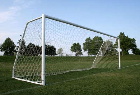A vacant soccer goal. photo