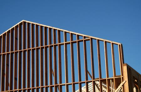 The wooden frame of a large new house. Reklamní fotografie
