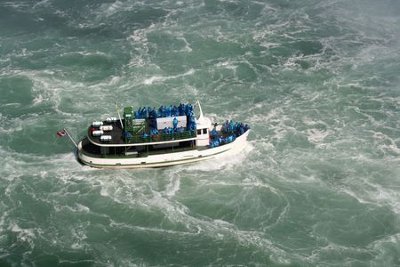 swell: The Maid of the Mist in the swell near Niagara Falls.  Stock Photo