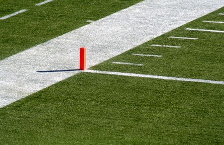 bounds: A shot of the endzone showing the goal line and the orange marker.