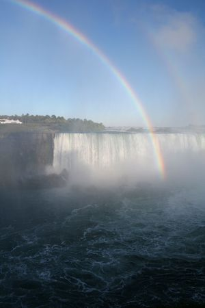 A rainbow shot against Niagara Falls. Banco de Imagens