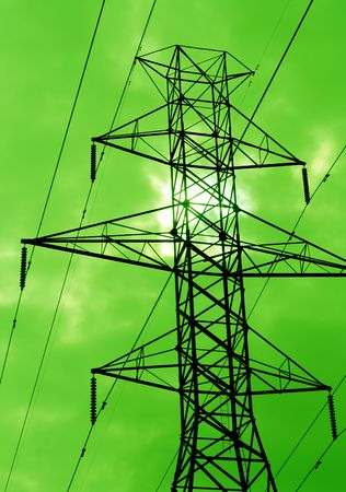 green lines: The silhouette of power lines agains a green sky.