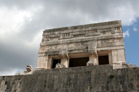 The Top of the Jaguar Temple at Chichen Itza, (Mayan Ruins) in Mexico.