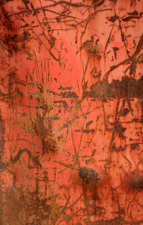 scratches: A red metal container with rusted scratches. Stock Photo
