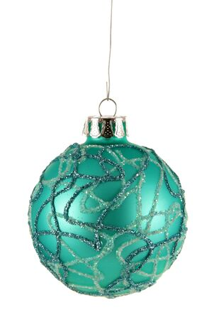 A single isolated aqua striped Christmas bauble hanging.