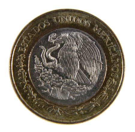 1: A close-up shot of a Mexican peso.