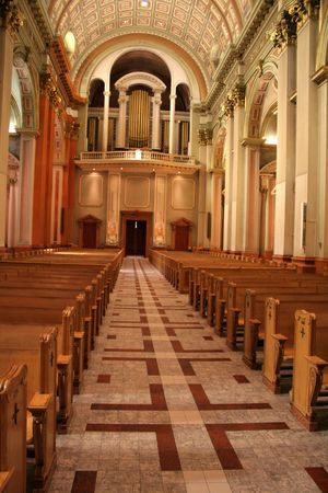 The entry way and organ loft of the Cathedral of Mary, Queen of the World ( Maire-Reine-du-Monde), in Montreal, Quebec, Canada, Stock Photo - 4874015