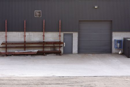 The loading dock of an industrial warehouse.