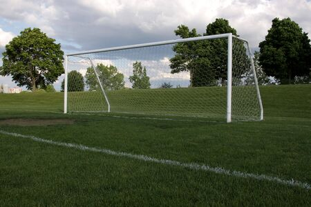 goal line: A view of a net on a vacant soccer pitch.