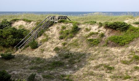 obx: A stairway to the beach on the Outer Banks, North Carolina, USA.