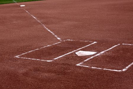 A close-up of the batters boxes and home plate on a vacant baseball diamond.