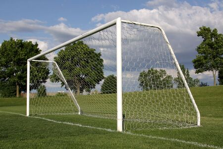 soccer pitch: A view of a net on a vacant soccer pitch.