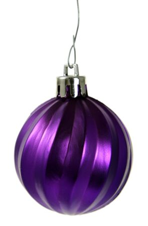 A single isolated purple Christmas bauble hanging.