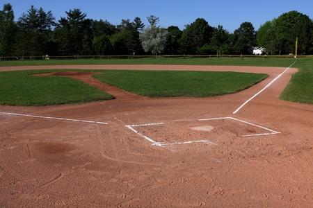 combined: Un tiro de gran angular de un campo de b�isbol desocupada.  El tiro fue creado a trav�s de HDR. (m�ltiples exposiciones combinadas)