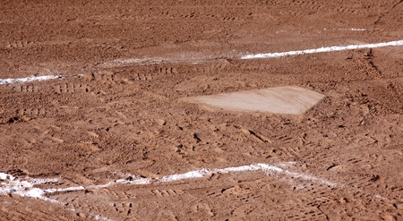 A close-up of home plate and the batters boxes at a baseball field. photo
