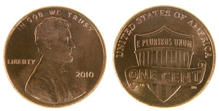 ambos: Ambos lados de una moneda (2010) de EE.UU., aislado en un fondo blanco. Foto de archivo