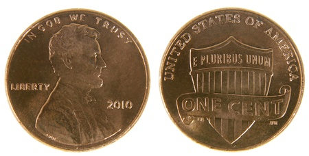 the sides: Both sides of a (2010) US penny, isolated on a white background.  Stock Photo