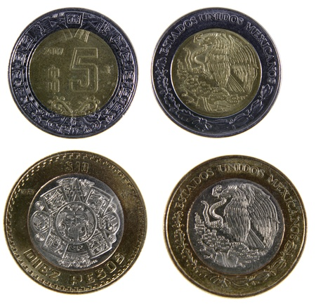 pesos: A close-up shot of a Mexican ten and five peso coins.